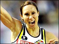Belgian Kim Gevaert celebrates her win
