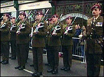 Parade by soldiers from the 1st Battalion the Parachute Regiment