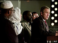 George W Bush with Islamic leaders at the Islamic Center, 18 Sept 2001