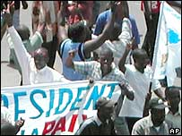 Congolese Opposition party supporters on the streets of Kinshasa