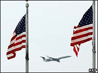 Plane and US flags