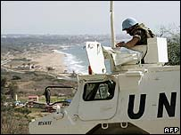 UN troops at the Rosh Hanikra border crossing point