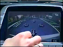 Computer screen in a Toyota Prius that aids parallel parking
