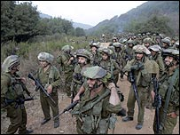 Israeli troops on the south Lebanon border