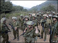 Israeli troops on the south Lebanon border