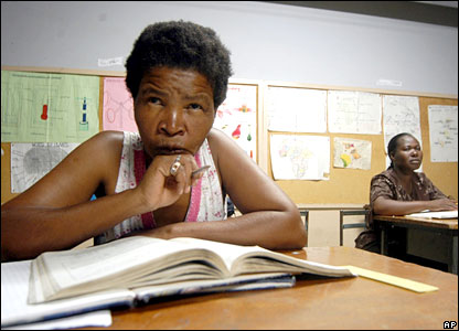 A woman from Botswana in a classroom in Gaborone on Tuesday