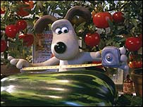 Gromit checks the size of his marrow in The Curse of the Were-Rabbit