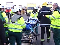 Injured person being taken to hospital