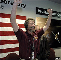 Jim Graf, MRO project manager, celebrates reaching orbit