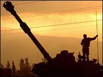Israeli tank on the Lebanon border (Aug 12)