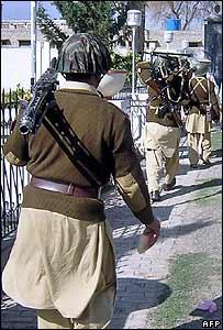 Pakistani soldiers patrol Miranshah