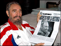 Fidel Castro pictured with Saturday's edition of Granma