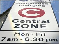 Congestion charge warning sign