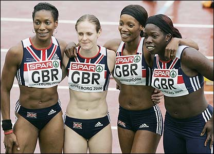 The British women's 4x100m relay team celebrate claiming silver in the final