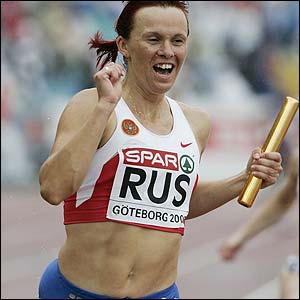 Russia's Irina Khabarova celebrates as Russia win the 4x100m relay final