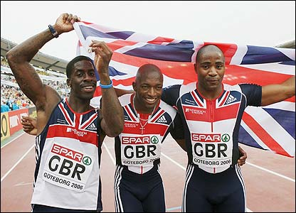 Dwain Chambers, Marlon Devonish and Mark Lewis-Francis celebrate their success