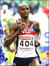 Mo Farah in action in the 5,000m