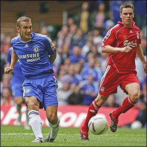 Shevchenko fires home as Steve Finnan looks on