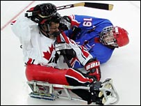 Canada's Dany Verner clashes with GB's Richard Whitehead