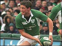 Ronan O'Gara launches an Ireland attack against Scotland