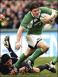 Captain Brian O'Driscoll launches an Ireland attack against Scotland