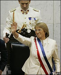 Chile's President Michelle Bachelet at her inauguration