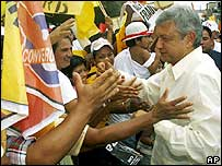 Andres Manuel Lopez Obrador greets supporters