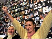 Survivors of the Srebrenica massacre smiling