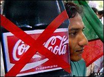 A protest against soft drinks in India