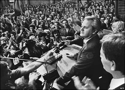 Slobodan Milosevic in the Serbian national assembly