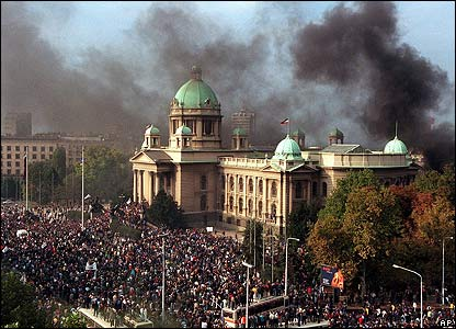 Crowds outside the federal parliament, Belgrade