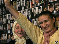 Bosnian Muslim woman survivor of Srebrenica massacre cheers at news of Milosevic death