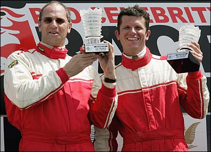 Sir Steve Redgrave and Garth Tander celebrate
