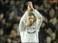 David Beckham salutes supporters at Highbury