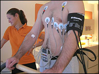 Man having his heart tested on a running machine