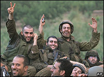Israeli soldiers returning from fighting in Lebanon as ceasefire came into effect