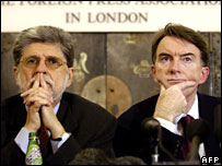 (L-R) Brazil's Celso Amorim and the EU's Peter Mandelson