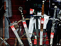 Swords on sale in a shop