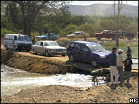 Cars cross the Litani River, north of Tyre, Lebanon