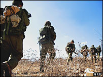 Troops walking near the southern Lebanese village of Markabeh
