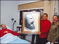Fidel Castro (left), Venezuelan President Hugo Chavez (middle) and Raul Castro