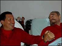 Venezuela's President Hugo Chavez visits Fidel Castro on his 80th birthday as he recovers from surgery