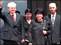 Slobodan Milosevic with (L-R) Marija, Mirjana and Marko in 1997