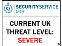 UK government website showing the terror threat level to the UK as severe