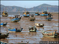 Boats tied up in Chixi town in Cangnan county