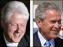 Former US president Bill Clinton and current President George W Bush