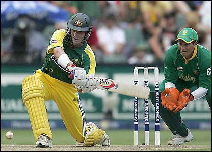 Michael Hussey scores nine fours and three sixes during his impressive innings