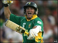 Mark Boucher jumps for joy