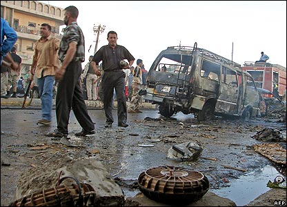 Aftermath of a bomb attack in Baghdad