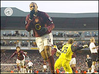 Thierry Henry celebrates another goal
